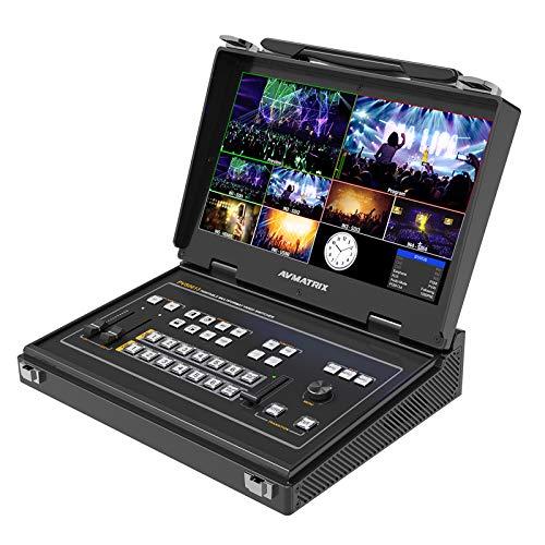 Avmatrix PVS0613 Video Switcher Portable 6 Channel 4×SDI and 2×HDMI Video Mixer Converter with 13.3 inch FHD LCD Monitor(PVS0613)