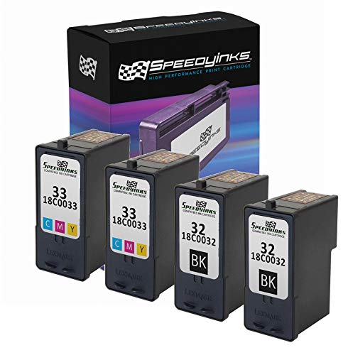 Speedy Inks Remanufactured Ink Cartridge Replacement for Lexmark 32 & Lexmark 33 (2 Black, 2 Color, 4-Pack)