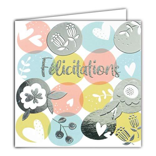 Afie 22001 Carte Carrée Argentée Félicitations pour tout heureux évènement - Naissance Bébé Baptême Mariage Pacs Fiançailles Emménagement à 2 deux couple famille