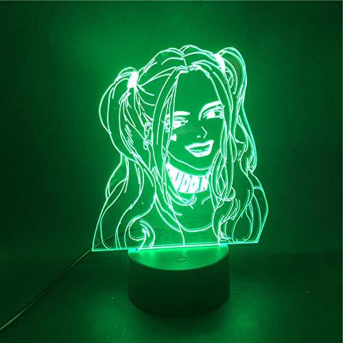 Regalo para mujer Harley Quinn Super Villain 3D lámpara para control de batería Bluetooth decorada, base de despertador LED USB lámpara de luz nocturna de alta