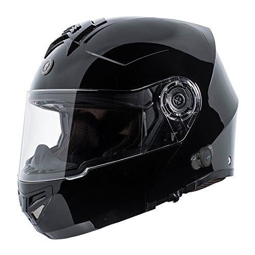 TORC T27 Full Face Modular Helmet with Integrated Blinc Bluetooth (Gloss Black, X-Large)