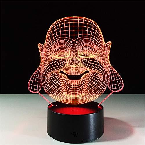 LBJZD luz de noche Maitreya Buddha 7 Colores Cambiantes Lámpara De Noche Atmósfera 3D Luz De Bulbo Led 3D Ilusión Visual Para Regalo Sin Mando A Distancia