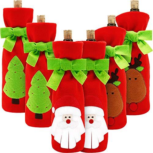 6 Juegos de Funda de Botella de Vino de Navidad Cubierta de Botella de Vino de Papá Noel Reno Muñeco de Nieve...