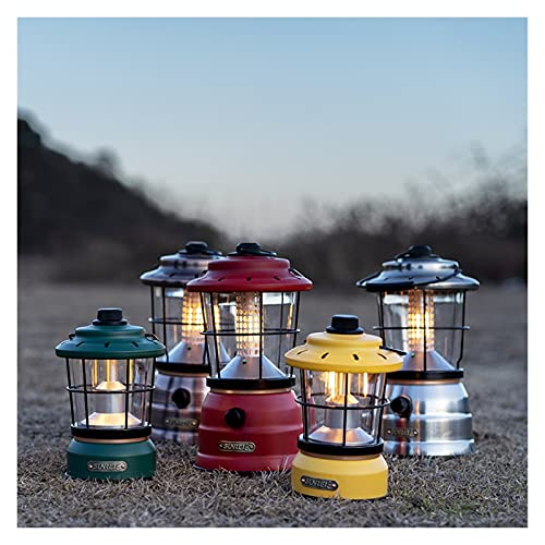 JCMYSH Luces de Camping Retro al Aire Libre Camping iluminación Recargable Impermeable Campamento atmósfera luz de Hierro Camping al Aire Libre de Emergencia de huracán (Color : Silver)