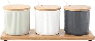 Pots à épices,Boîte d'organisateur de Stockage d'épices, Pot d'assaisonnement en céramique de récipient de Condiment Combi...