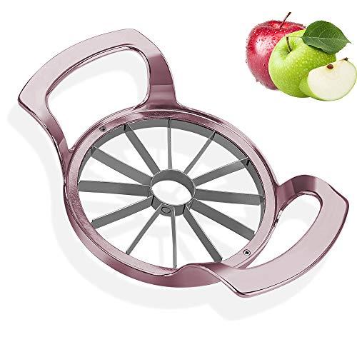 munloo Apfelschneider, 12 Klingen Apfelschäler, 10 cm Obstschneider mit Edelstahl ideal für Äpfel und Birnen (Roségold)