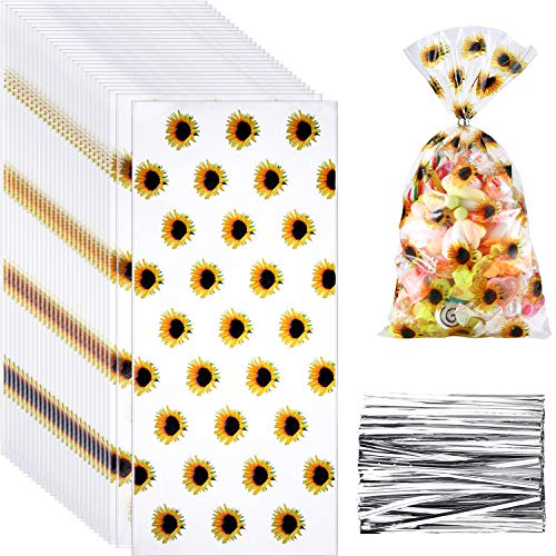 100 Pieces Sunflower Cellophane Bags Cello Clear Candy Bags Plastic Goodie Storage Bags with 150 Pieces Twist Ties for Sunflower Party Favors