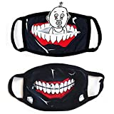 CoutureBridal 2 Pack Tokyo Ghoul Kaneki Anime Halloween Face Props, Novelty Reusable Cosplay Cool Props Accessories for Boys Girls Black, 11.2x4.8inches