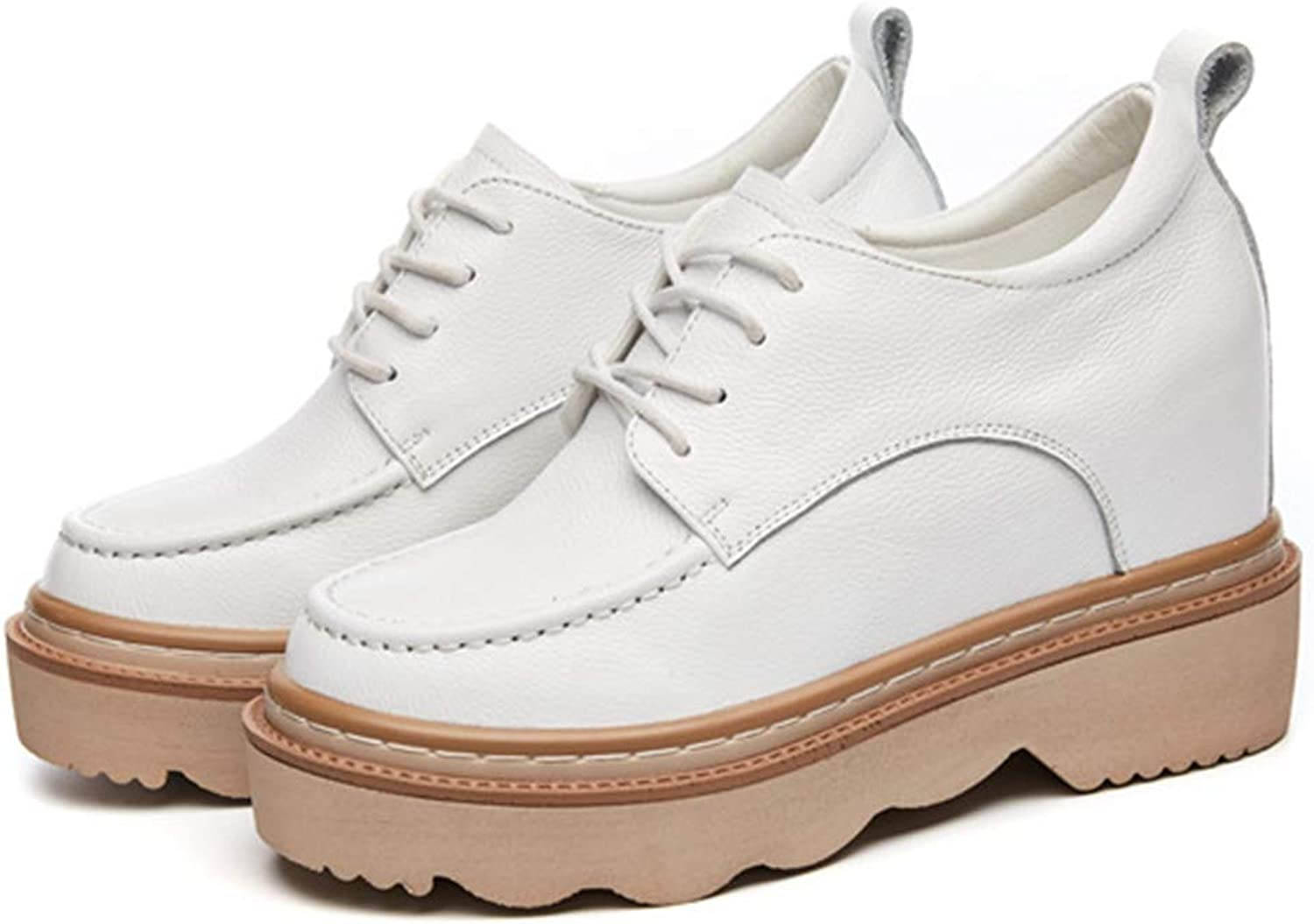 T-JULY Woman Autumn Genuine Leather Leisure shoes Female Casual Platform White Wedge Sneakres