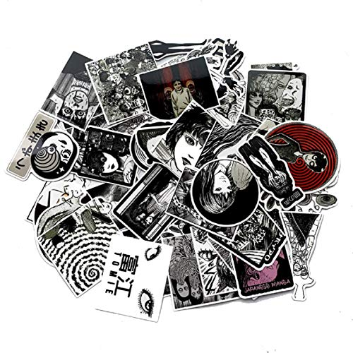 STICKALYLY 56PCS Tomie Comic Print Black White Thriller Horror Style Toy Sticker for Laptop Phone Cases Water Bottle Skateboard Luggage Trolley Doodle Cool Waterproof Sticker