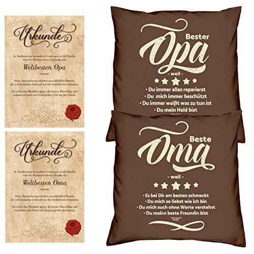 Soreso Design Oma & Opa -:- 2 Kissen inklusive Füllung -:- 2 Urkunden -:- Geschenk Weihnachten Großeltern braun