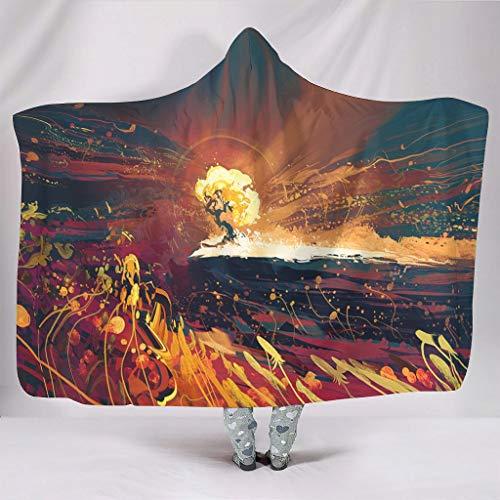 Manta con capucha con diseo abstracto del rbol de la vida con impresin solar, clida de invierno, forro polar, color blanco, 130 x 150 cm