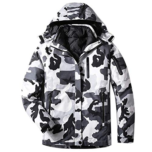 ESFHWYP Winter Ski Suit Men Warm Windproof wasserdichte Sport Snow Jacken und Hosen Ski Snowboard Jacke Men Grey camo Jacket 4XL