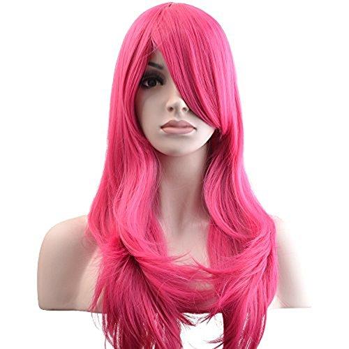 "YOPO 28"" Wig Long Big Wavy Hair Women Cosplay Party Costume Wig(Rose)"