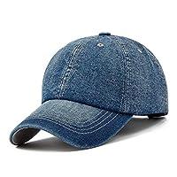 ユニセックスソリッドデニム野球キャップ空白洗い洗いジャン帽子の男性と女性のための調節可能なスナップバック帽子の帽子 (Color : Dark blue)
