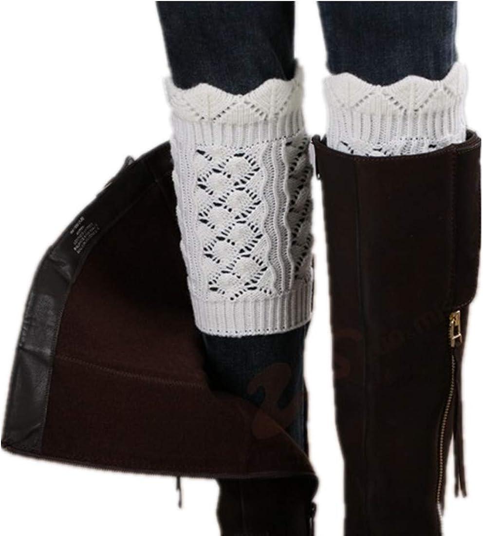 YQWEL 3 Pairs Women Winter Warm Crochet Knitted Boot Cuff Sock Leg Warmer