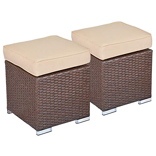 SUNVIVI OUTDOOR 2 Pieces Outdoor Patio Ottoman, All Weather Brown Wicker Ottoman Outdoor Footstool Footrest with Beige Cushion