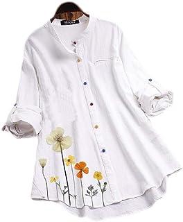 بلوزة حريمي مقاس كبير من Abeaicoc بأكمام طويلة مطبوع عليها زهرة قميص بأزرار