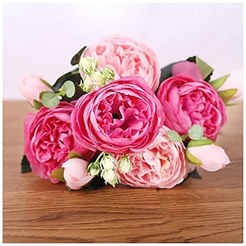 YYOBK TS 30 Cm Rose Peony Simulation Flower, 5 Cabezas Grandes Y 4 Brotes Pequeños Ramo Falso De Seda, Decoración De La Boda (Color : Pink Rose)
