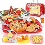 Sotodik 40 Piezas Cocina Comida Juguete Alimentos de Juguete, con Dos Bandeja Juguete Desmontables Hamburguesas y Pizza, Cocina Accesorios Educación Juegos de rol Regalo para Niños Niña