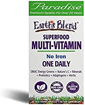 Paradise Herbs - Earth's Blend® Superfood Multivitamin No Iron - Orac Energy Greens + Nature's C + Minerals + Probiotics + Adaptogens + Herbs | Help Support Overall Whole System Health - 60 Count