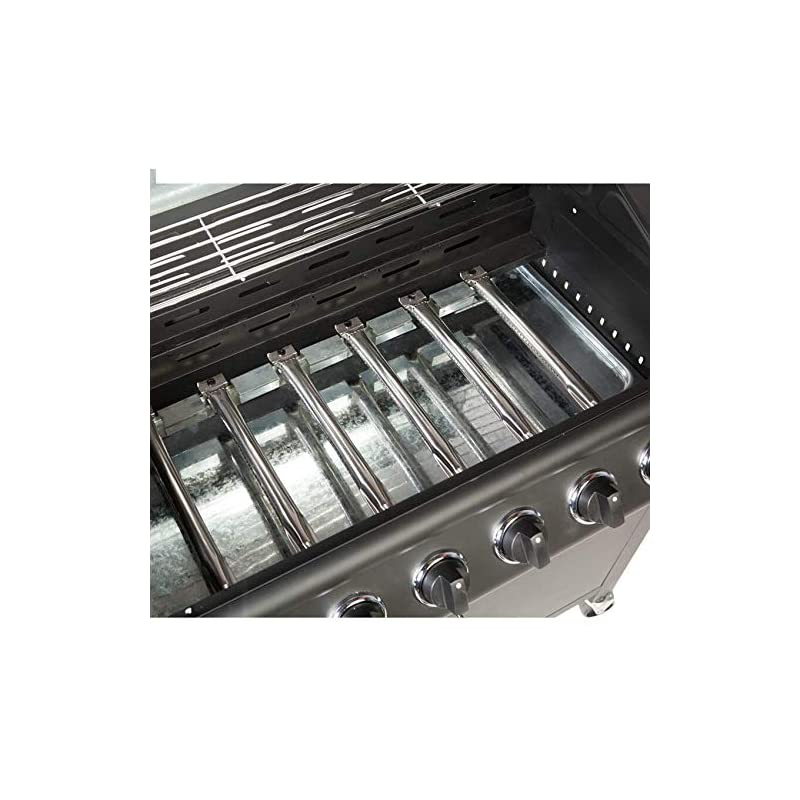 CosmoGrill barbecue 6+1 Pro Gas Grill BBQ (Black with Cover)