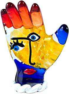 YourMurano Murano Glass Sculpture, Picasso Inspired, Hello Sign, Face and Hand Representation, Multicoloured, Blown Glass, Modern Design,Handmade, 100% Trademark of Origin Guaranteed, Nirvana