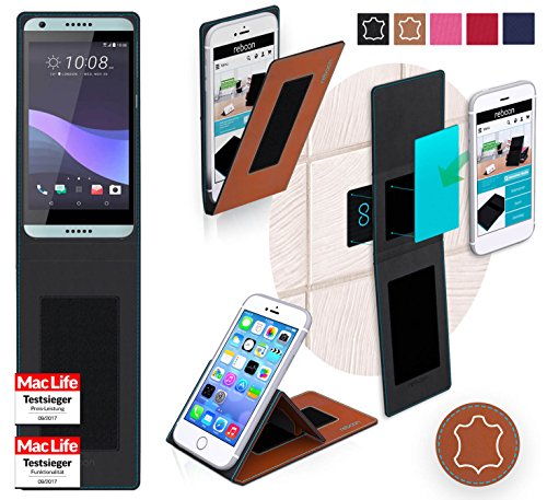 Hülle für HTC Desire 650 Tasche Cover Hülle Bumper | Braun Leder | Testsieger