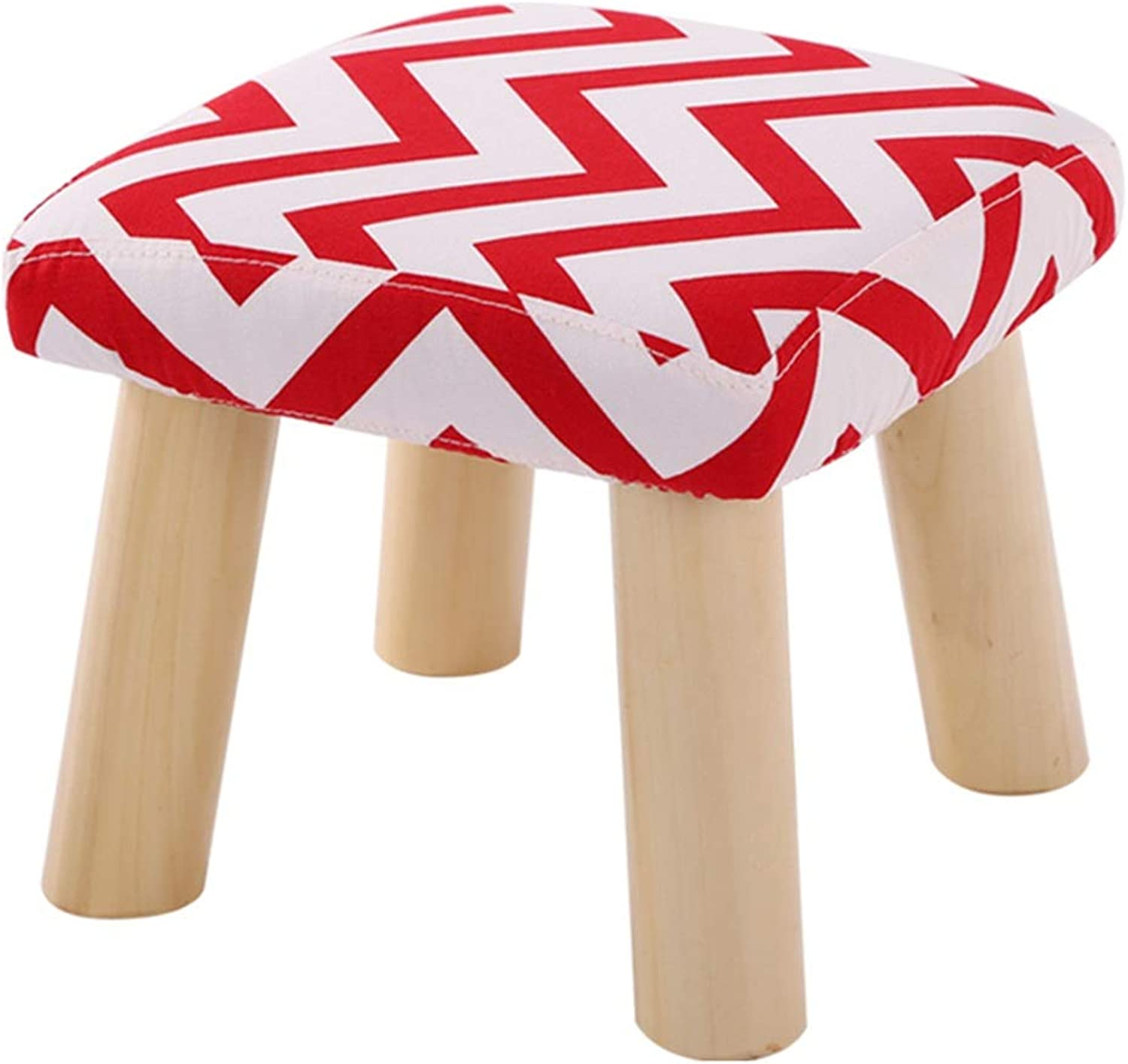 ZHAOYONGLI Stools Footstool Step Stools Solid Wood Stool Cotton Linen Bench Stool Change shoes Bench Removable and Washable Home Small Stool Square Stool Creative Solid Durable Long Lasting