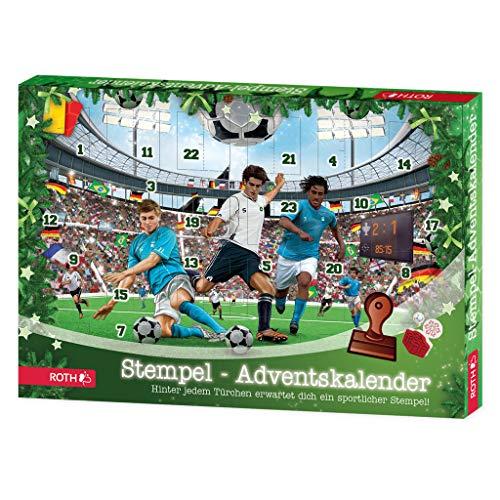 ROTH Fußball Stempel-Adventskalender, gefüllt mit 24 verschiedenen Stempeln und Stempelkissen
