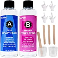 Anti UV Epoxy Resin and Hardener Kit Crystal Clear Easy Cast for DIY Art Craft Resin & Table Top Coating Epoxy, Non...