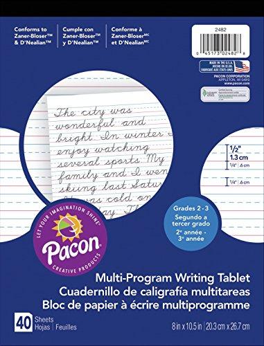 Pacon  Handwriting Paper, D'Nealian Grades 2&3 / Zaner-Bloser Grade 2, 1/2