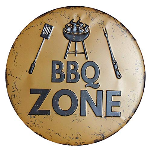 WE Zona de Barbacoa Placa de Metal Retro Carteles de Chapa Cafe Bar Pub Letrero Decoración de Pared Nostalgia Vintage Placas Redondas 30CM 1