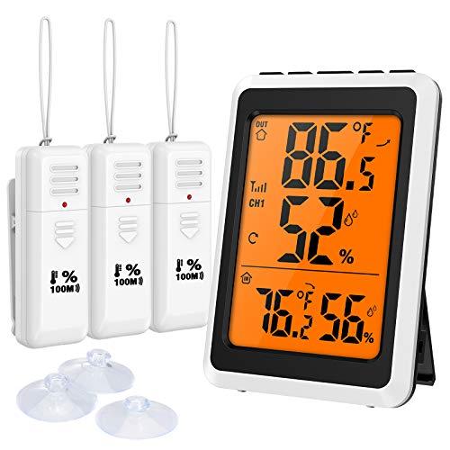ORIA Thermometer Hygrometer Innen Außen, Digitales Drahtloses Feuchtigkeitsmesser Temperaturüberwachung mit USB kabel und 3 Sensors, Min/Max Aufzeichnungen, für Zuhause/Büro/Gewächshaus