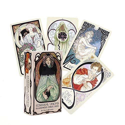 80 Piezas de Cartas de Tarot, visiones etéreas iluminadas, inglés Completo, Juego de Mesa de Cartas de Fiesta Familiar, Regalo Ideal para Amantes del Tarot