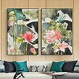 Cuadro de lienzo de flores con estampado de loto rosa tradicional póster de hoja de acuarela abstracta imagen artística de pared para sala de estar decoración de Buda sin marco-40x50cmX2