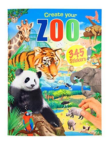 Depesche 11416 - Malbuch Create your Zoo mit Stickern, ca. 30 x 22 x 0,5 cm groß, mit 24 bunt illustrierten Seiten und 3 Doppelseiten Aufklebern