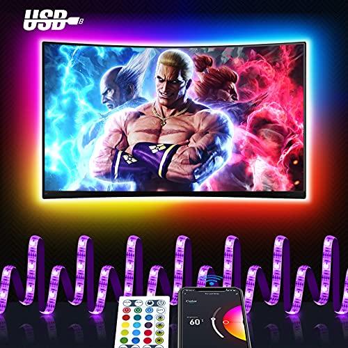 Maxcio Smart Striscia LED USB TV, 3M LED Luci Colorati Compatibile con Alexa e Google Home, APP Controllo, Smart Strip RGB 5050 con Funzione Timer, Modalità Musica Perfetto per Feste e Decorazione