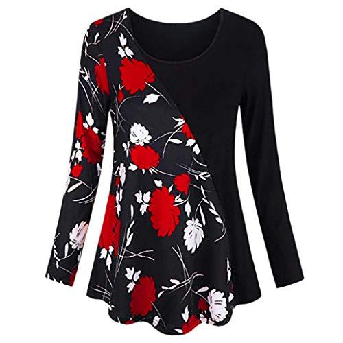 VEMOW Sommer Herbst Elegant Damen Oberteil Langarm O Neck Printed Flared Floral Beiläufig Täglich Geschäft Trainieren Tops Tunika T-Shirt Bluse Pulli(Y2-Rot, 38 DE/S CN)