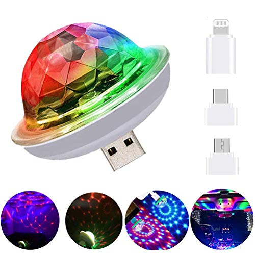 Macabolo Mini USB Disco Ball Licht, tragbare LED Auto Atmosphäre Licht Strobe Lichter für Kinder Geburtstag Partys Bühne DJ Beleuchtung Disco Dekoration