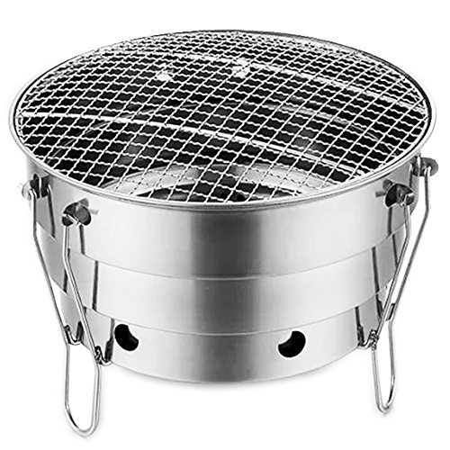 Portable Foldable Charcoal Grill, 11 inch Small Stainless Steel Windproof Grill, Lightweight BBQ Grill Perfect for Home Garden Outdoor Camping Picnic Beach Barbecue Party, with Carry Bag