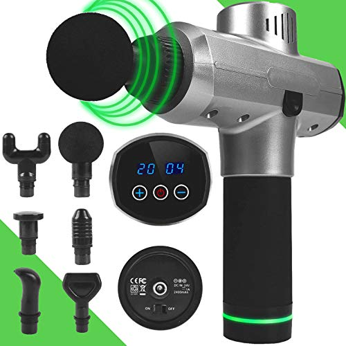 BIGTREE 20 Speeds Percussion Massage Gun Deep Tissue for Athletes Muscle Recovery Cordless Handheld Muscle Massager Gun for Body Neck Back Leg Carry Case & Extra Heads