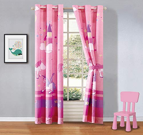 Linen Plus 2 Panel Curtain Set with Grommets for Teens Boys Girls New (Pink/Purple Unicorn)
