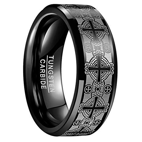 Natur Fashion - Christlicher Ring 8MM Schwarz mit Kreuz Gravur für Herren Damen Unisex aus Wolframcarbid für Trauung Verlobung Partnerschaft Freundschaft Größe 62 (19.7)