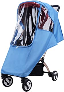 Stroller Rain Cover Universal Size Weather Shield Ventilation Waterproof Protection Umbrella Wind Dust Cover Wind Shield Deal Raincoat for Travel(Blue)