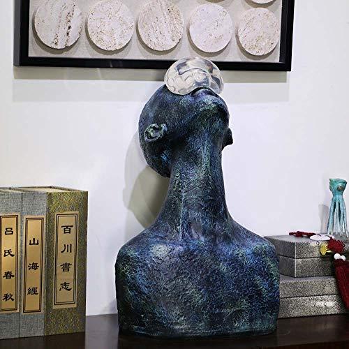 WHSS Adornos de carácter moderno para sala de estar, TV, consola de mesa cargada de suave resina acrílica ornamentos 33 x 28 x 52 cm