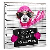 Starodec Cortina de Ducha, arresto Penal Diva Lady Girl Dog Posing Lovely Broken Sports Recreation Board Ladrón Canino Design Set de Cortinas de baño con Ganchos 72 x 72 Pulgadas