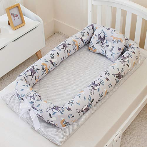 Abreeze Baby Lounger Baby Nest Portable Co Sleeping Baby Bed Newborn Lounger, Ultra Soft Breathable Infant Bassinet Baby Cots Travel Crib Baby Bed (Elk)