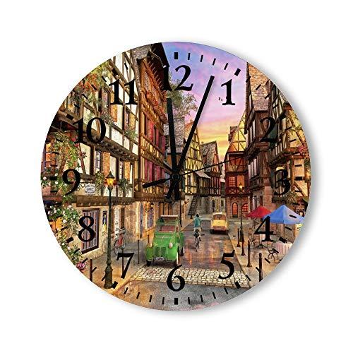DKISEE Reloj de pared redondo de madera para dormitorio, sala de estar o casa, silencioso, sin garrapatas, de Colmar Street