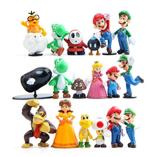 Hyde Super Mario Figuren, 18 Set Mario Kuchen Dekoration für Geburtstags Party liefert Cupcake Figuren, Cake Topper, Party Kuchen Dekoration Lieferungen